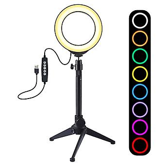PULUZ 4,7 tum 12cm USB 10 Lägen 8 Färger RGBW Dimbar LED-ring Vlogging Fotografi Video Lights + Stationära stativ mount med cold shoe tripod boll