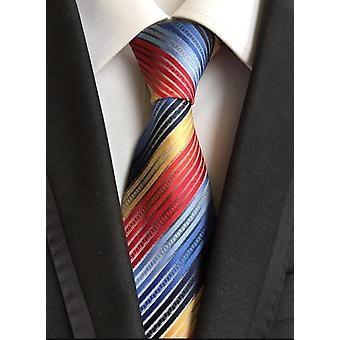 Ny Classic 8cm Slips For Man - 100% Silk Luksus Solid Plaid Prikker Business