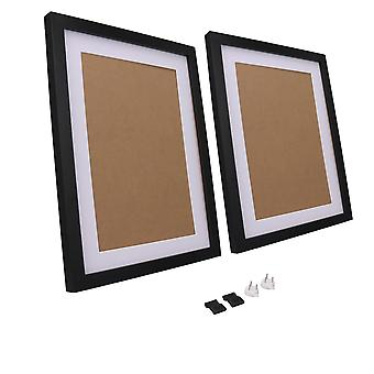 2Pieces Picture Photo Frame 11Inchx14Inch avec Mat for Table Top Display Noir