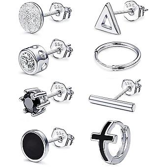 Sllaiss 8 Pieces 925 Sterling Silver Stud Earrings Set