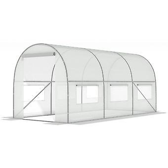 Witte folietunnel met ramen - 10m2 = 400 * 250 * 200