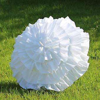 Children's White Ruffle Cancan Parasol Frilly Umbrella