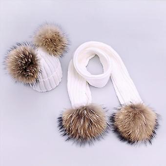 قبعات الوالدين والطفل، لطيف الطفل الرضيع بومتون الشتاء قبعة الوشاح مجموعات، طبيعي حقيقي
