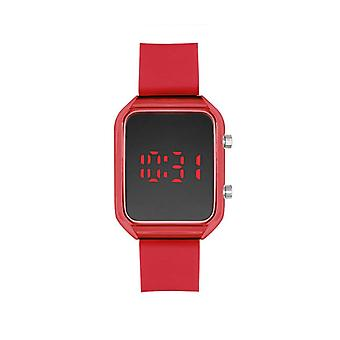 Led Watch With Red Rubber Band