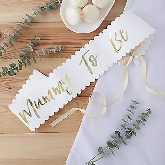 Ginger ray foiled mother to be baby shower sash decoration, white and gold