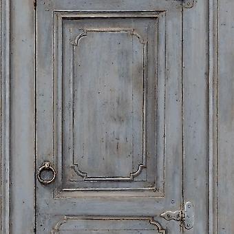 Home Rustic Cupboards Blue Wallpaper