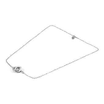 ANCHOR & CREW Twin Circle Link Paradise Silver Necklace Pendant