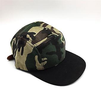 Women Men Camouflage Panel Hip Hop Cap Flat Peak Brim Unisex Camo Baseball Pu
