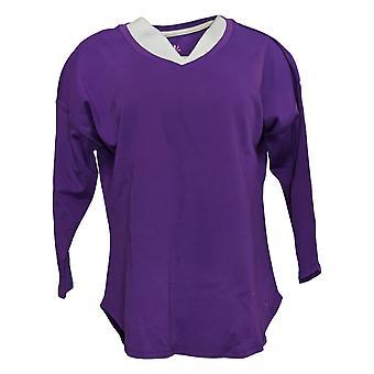 Isaac Mizrahi Live! Women's Top Cotton Dropped Shoulder Purple A390352