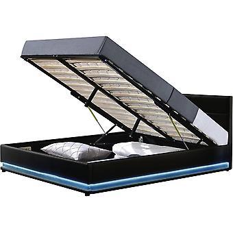 """Łóżko z diodą LED """"Anastasia""""- 140 x 190 cm - Czarny"""