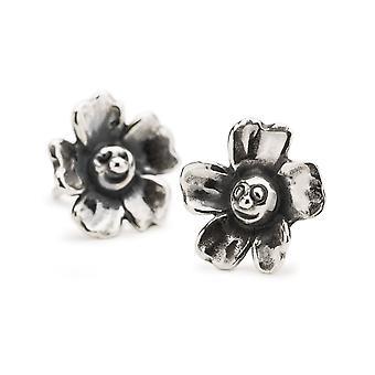 Trollbeads plata de ley alegre flor studs pendientes TAGEA-00107