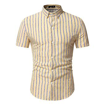 Swotgdoby Men's Striped All-match Anti-wrinkle Short-sleeved Shirt