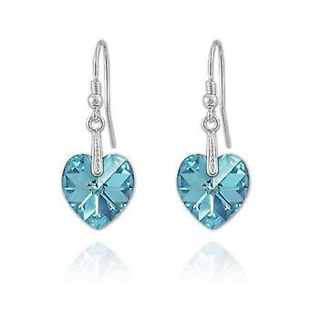 Zilveren aquamarijn hart oorbellen