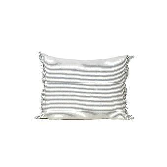 Set of 2 Light Blue and Ivory Horizontal Stripe Lumbar Accent Pillows