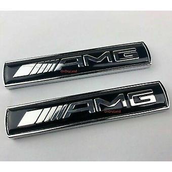 Mercedes Benz Side Wing Fender Badge Black/Chrome Emblem Boot For AMG Models x2 (pair)