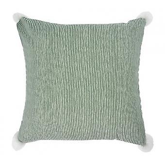 pillow striped 45 x 45 cm textile green/white