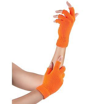 Volwassen neon oranje korte wanten