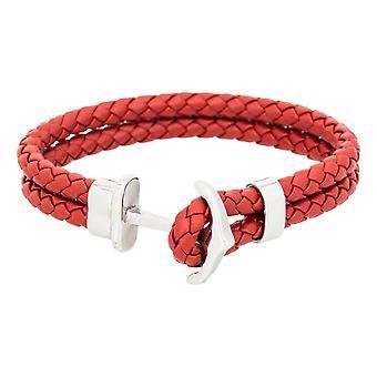 Mäns dubbel-turn rött läder armband 'apos;ANCHOR'apos;