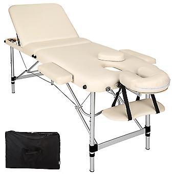 tectake Massagebriks i aluminium med 3 zoner, 5cm polstring + taske - beige