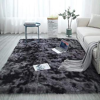 Gerui Soft Touch Area Rug Bedroom Anti-Skid Yoga Carpet Shaggy Rugs Fluffy Motley Tie-dye Carpets Dark