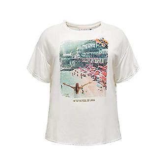 ONLY Carmakoma CARFLORAL SS Reg Tee T-Shirt, Cloud Dancer, XL-54 Woman