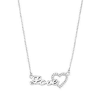 """mor Kvinnors halsband med """"Love"""" hänge, i glansigt silver 925, med bianch zirkoner"""