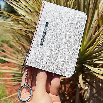 Michael kors avain rengas vetoketjullinen pussi kortin haltija lompakko valkoinen mk greippi vaaleanpunainen