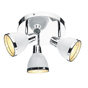 DAR OSAKA Spotlight Placa Redonda Ponto De Luz Branca e Cromo Polido, 3x E14