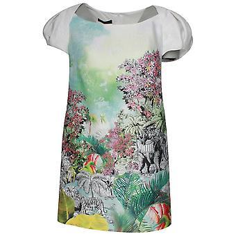 Arggido Capped Sleeve Safari Print Short Dress