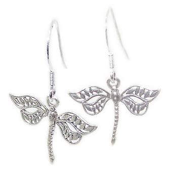 Dragonfly Sterling Silber Drop Ohrringe .925 X 1 Paar Libellen Tropfen - 15359
