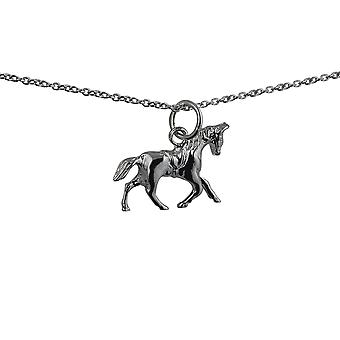 Silver 13x19mm Saddled Cantering Horse Pendant with a rolo Chain 24 inches