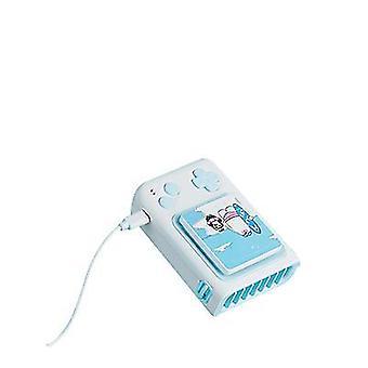Polar Fan USB Mini Hängehals kleiner Fan Kinder Cartoon Tisch Stehender Ventilator mit Puzzle (Blau)