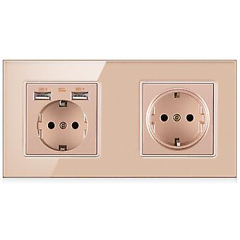 Eu Two-slot Glass Panel Without Pin Power Socket 16a With Double Usb