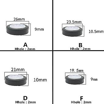 6Pcs round -hole rubber wheel suitable for small motor round shaft tire car robot diy toys parts