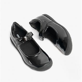GEOX Gioia A Girls Touch Fastgørelse Skole Sko Patent Black
