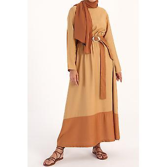حزام الخصر المرن مع جيب مفصل فستان فيسكوز