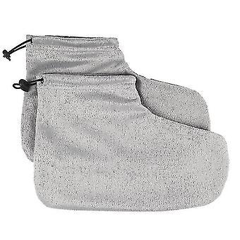 Luvas de cera de parafina para luvas de banho de mão e pés e abertura de botas (cinza)