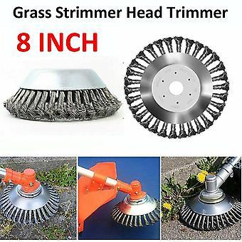 8 tums gräs strimmer huvud trimmer borste solid stål tråd hjul trädgård