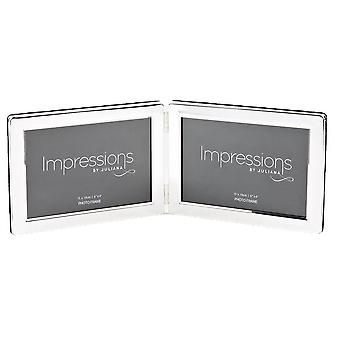Juliana Impressions Hinged Double Frame 4x6  - Silver