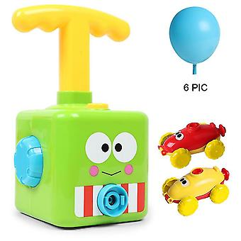 Qian Power Balloon Car Toy For Kids, Children Inertial Balloon Powered Car Science Intelligence Education Toy, Green Frog