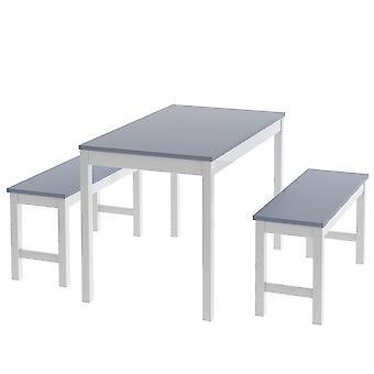 Set Of 3 Dining Table And Benches Solid Pine