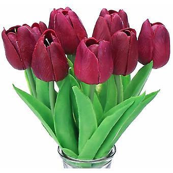 10 impresionante toque realista Pu ramo de tulipán artificial con tallo amarillo