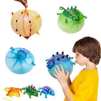 3pcs Drôle Blowing Animal Vent Jouet gonflable Dinosaur Ball Ballon d'eau Squeeze Stress Relief Nouveauté Enfants Party Enfants Jouets