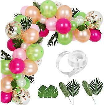 83 Pieces Tropical Balloons Garland Kit Diy Luau Balloon Arch Garland With Tropical Leaf And Balloon Strip