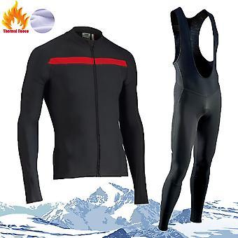 Vinter termisk fleece sæt cykling tøj langærmet mænds jerseydragt Sport Triathlon Mountain Bike Jersey