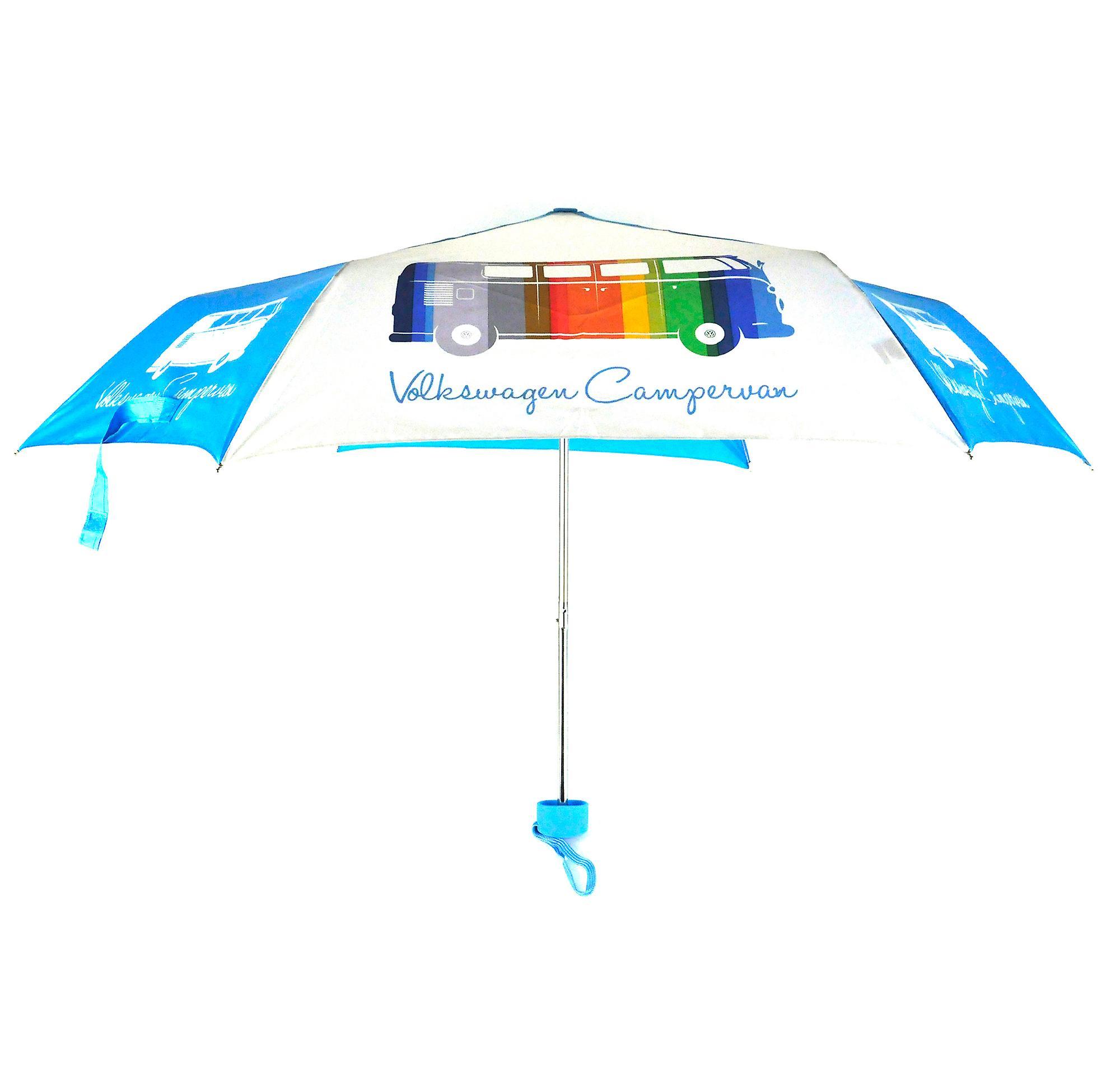 Official VW Camper Van Folding Travel Umbrella - Multi-Coloured Campervan