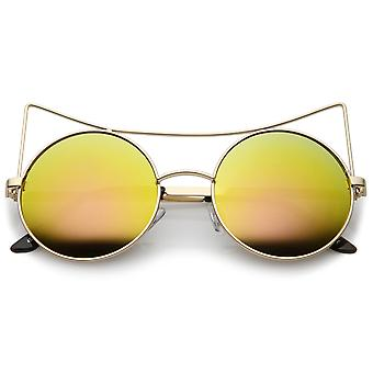 Women's Oversize Open Metal Cat Eye Sunglasses With Colored Mirror Flat Lens 54mm