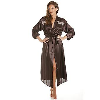 Camille Womens Ladies Chocolate Satin Kimono Womens Tie Belt Dressing Gown Sizes 10-24