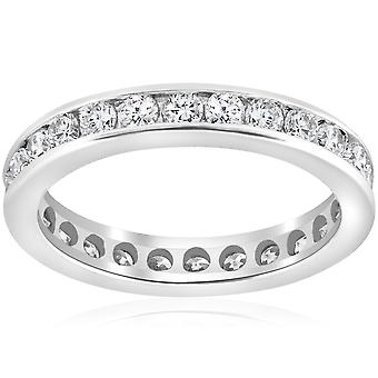 1 1 / 2ct Channel Set Diamond Eternity Ring 14K or blanc