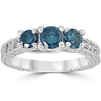 1 קרט מטופלים כחולים בציר היהלומים 3 טבעת אבן 10K זהב לבן